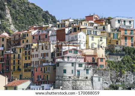 Town of Corniglia in Cinque terre in Italy - stock photo