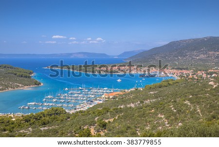 Town of Cres on island of Cres seen from above, Croatia, Europe - stock photo