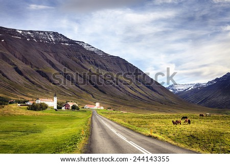 Town of Holar in Iceland - stock photo