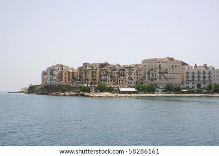Town of Kerkyra, capital of Corfu island, Greece, view from sea - stock photo