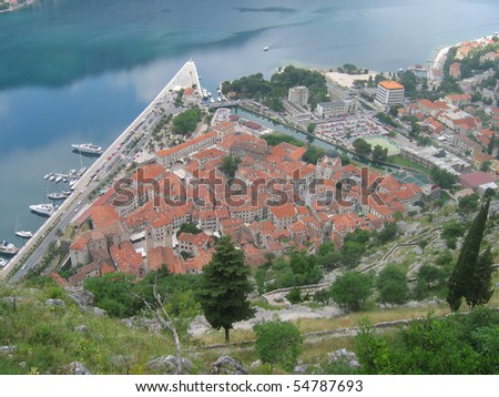 Town of Kotor from above. Montenegro. - stock photo