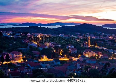 Town of Murter sunset view, Dalmatia, Croatia - stock photo