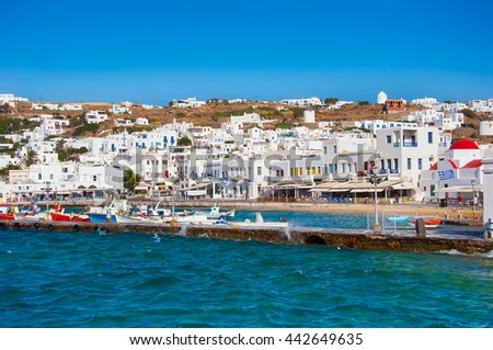 town of Mykonos in Greece against the blue sky - stock photo