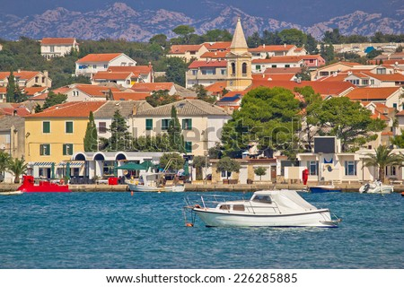 Town of Novalja waterfront view, Island of Pag, Croatia - stock photo