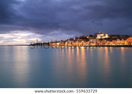 Town of Nyon skyline and Lake Geneva in the evening, Western Switzerland