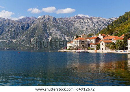 Town of Perast on the Bay of Kotor in Montenegro - stock photo