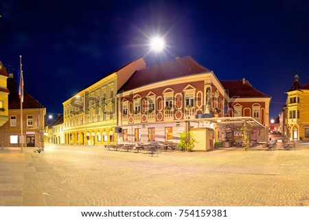 Town of Ptuj historic main square panoramic evening view, northern Slovenia