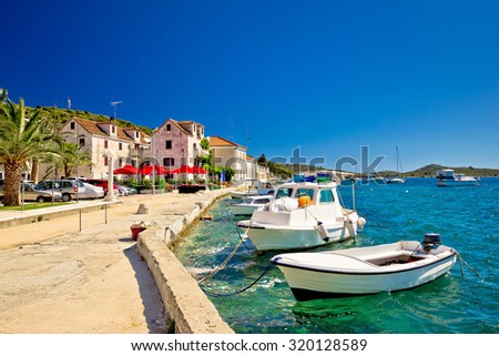 Town of Rogoznica on Adriatic coast summer view, Dalmatia, Croatia - stock photo