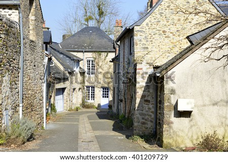 Town of Sainte-Suzanne, ranked one the most beautiful villages, fortified town in the Mayenne department, Pays-de-la-Loire region, in north-western France. - stock photo