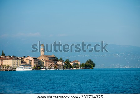 Town of Salo on Lake Garda showing harbor and boats moored