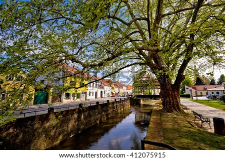 Town of Samobor river and park view, northern Croatia - stock photo