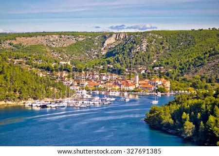 Town of Skradin on Krka river, Dalmatia, Croatia - stock photo
