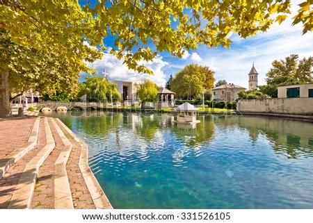 Town of Solin and river Jadro, Dalmatia, Croatia - stock photo
