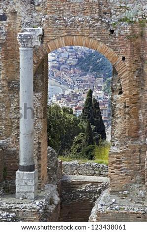 Town of Taormina in Sicily Italy in spring - stock photo