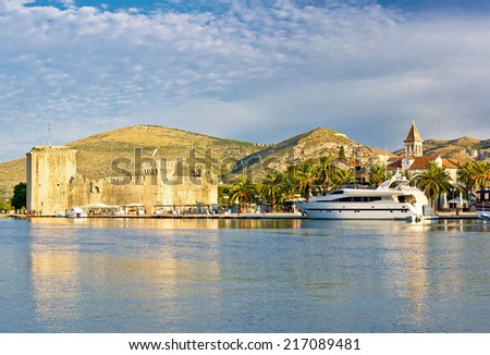 Town of Trogir old citadel and waterfront view, UNESCO world heritage site in Dalmatia, Croatia - stock photo