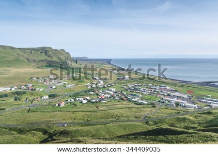 town of Vik, south Iceland - stock photo