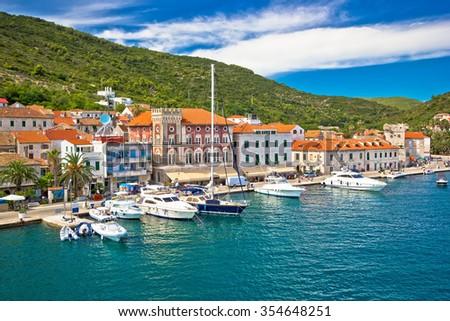 Town of Vis old mediterranean architecture, Dalmatia, Croatia - stock photo