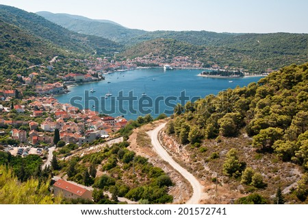Town of Vis on island Vis, Croatia. - stock photo