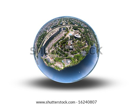 Town on a sphere - stock photo