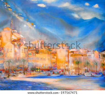 Town on the coast - stock photo