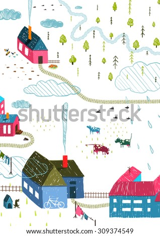Town or Village Rural Landscape with Forest and Little Houses Cows on White. Colored hand drawn sketchy pencil feel illustration. Countryside landscape. Raster variant. - stock photo