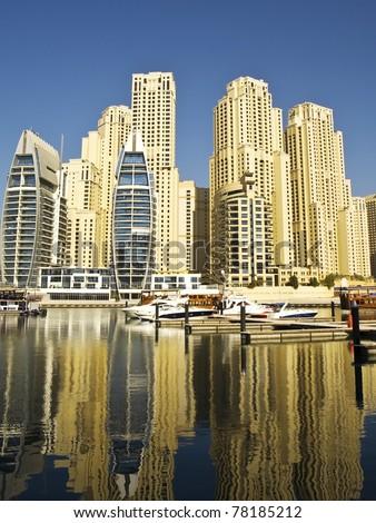 Town scape at summer. Dubai Marina. - stock photo