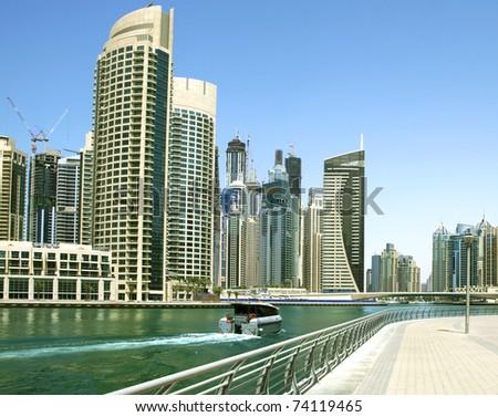 Town scape at summer. Panoramic scene, Dubai. - stock photo