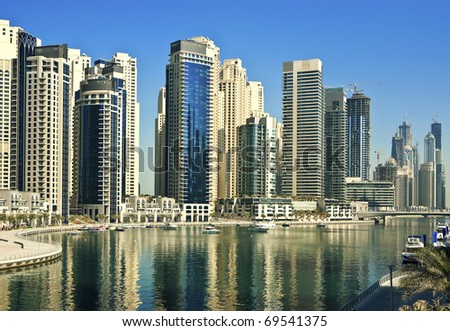 Town scape. Gulf with yacht club in the modern city - stock photo