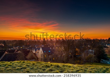Town Shot from the Hill in Twilight - stock photo