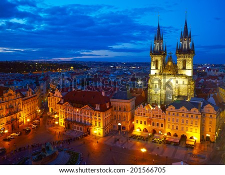 Town Square and Church of our Lady Tyn.   Prague, Czech - stock photo