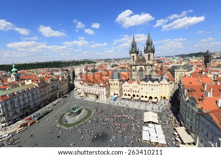 Town square and Tyn church, Prague - stock photo