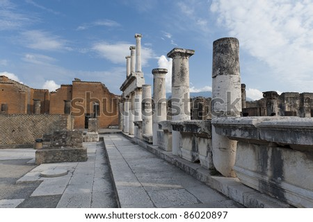 Town square from Pompeii ruins, Italy - stock photo
