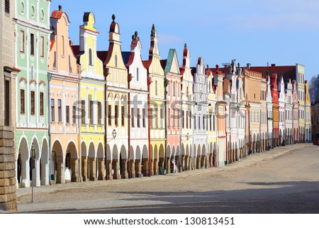 Town square in Telc with renaissance and baroque colorful houses - stock photo