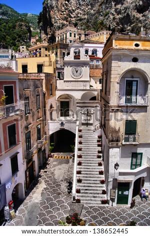 Town square in the coastal village of Atrani, Italy - stock photo