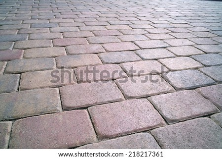 town square paved with stone - stock photo