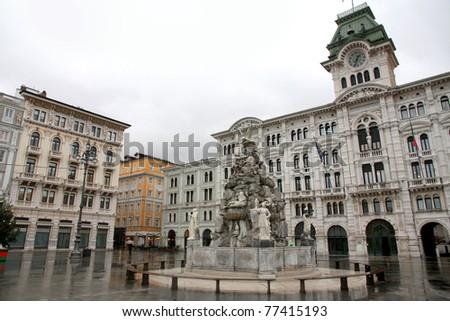 town square Piazza Unita in Trieste, Italia - stock photo
