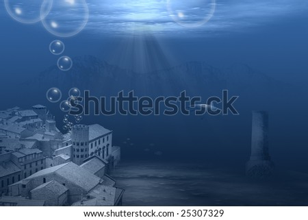 town under water - stock photo