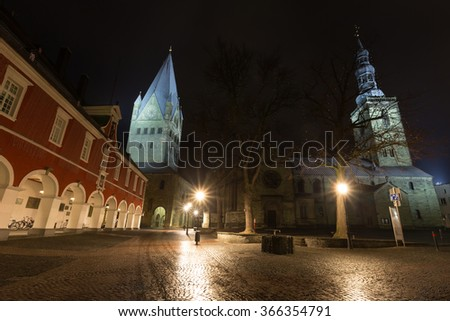 townhall and st patrokli dom soest germany in the evening