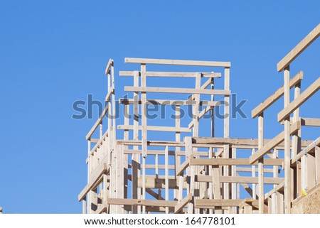 Townhome construction with wood framing.