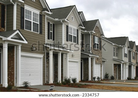 Townhomes under construction. - stock photo