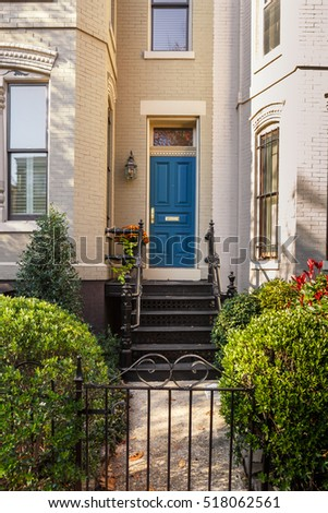 Townhouse Entry with Blue Door
