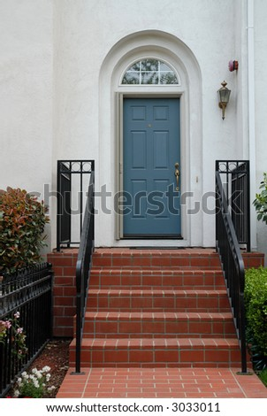 Townhouse steps and door, Mountain View, California