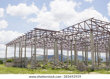Townhouse under construction in the countryside - stock photo