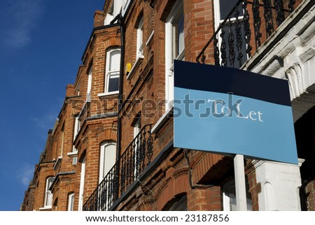 "Townhouses with ""To Let"" sign and copy space.  at Kensington area(West-London)."