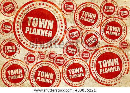 townplanner, red stamp on a grunge paper texture - stock photo