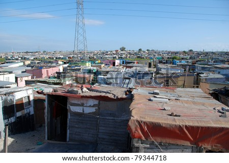 township in south africa - stock photo