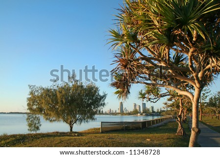 Township of Southport on the Gold Coast Australia seen through pandanus trees from Labrador after sunrise. - stock photo