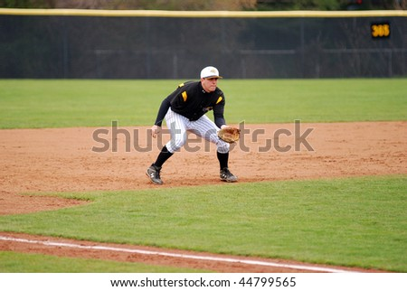 TOWSON, MD - APRIL 6: Towson University baseball third baseman Steve Yarsinsky plays defense in the April 6, 2008 game in Towson, MD