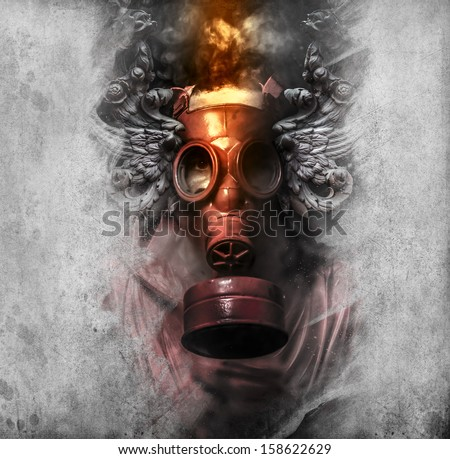 Toxic. A man in a gas mask in the smoke. artistic background - stock photo