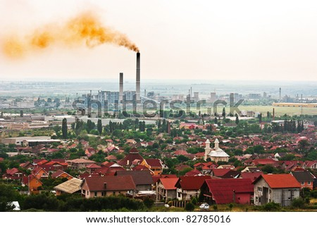 Toxic air above the city - stock photo